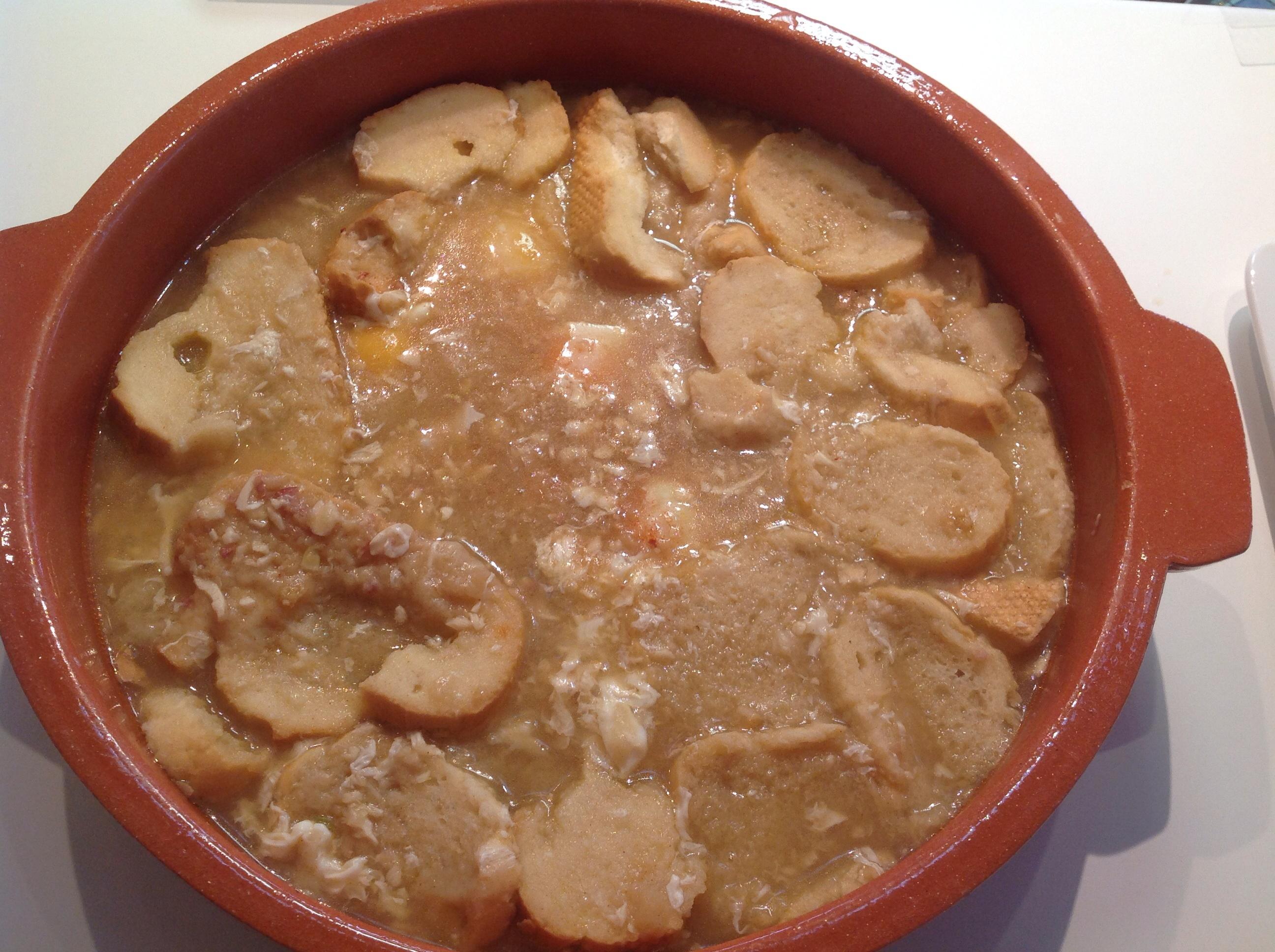 Sopa de ajo, ensalada de patatas y judías verdes con vinagreta con Thermomix®